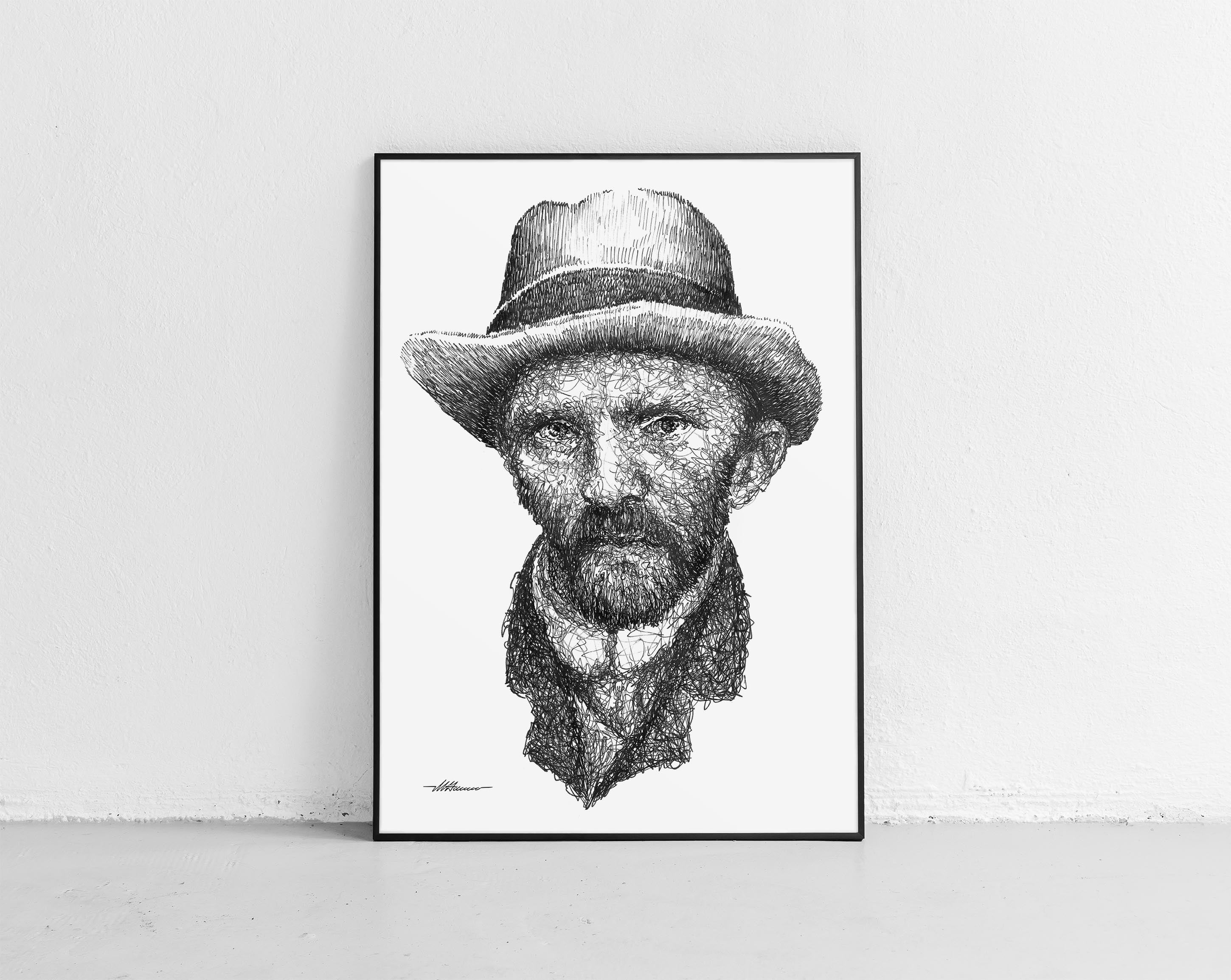 Scribbled Vincent Van Gogh with hat