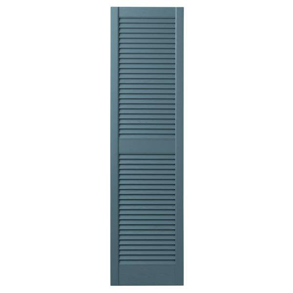 "Ply Gem 15"" x 55"" Open Louvered Polypropylene Shutters – Coastal Blue – Set of 2"