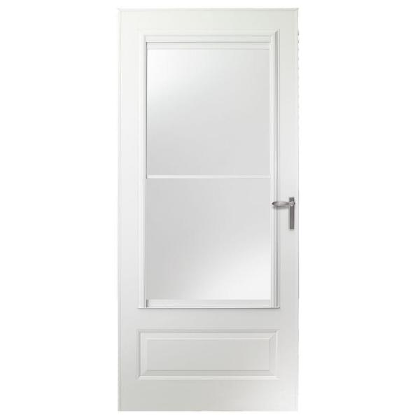 "EMCO 36"" x 80"" 300 Series Universal Triple Track Aluminum Storm Door – White/Nickel"