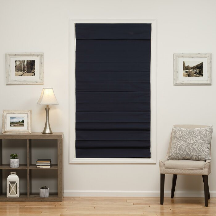"Symple Stuff 47"" x 72"" Insulating Cordless Blackout Roman Shade – Navy"