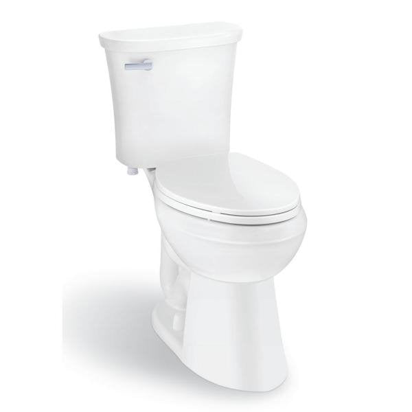 *AS IS Glacier Bay Power Flush 2pc 1.28GPF Single Flush Elongated Toilet – White