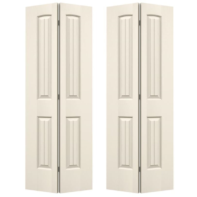 "*AS IS JELD-WEN 36"" X 80"" Santa Fe Closet Bi-Fold Doors – Primed – Set of 2"