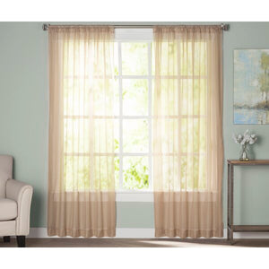 "Wayfair Basics 59"" x 95"" Solid Sheer Rod Pocket Curtain Panels – Taupe – Set of 2"