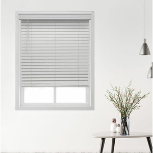 "Symple Stuff 56""W x 48""L Deluxe Cordless Faux Wood Room Darkening Blinds – White"