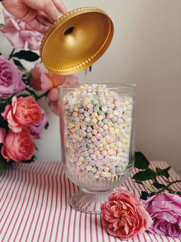 Glass jar of traditional pastille sweets