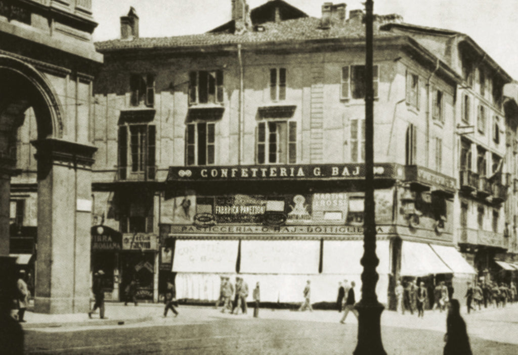 Historic image of a grand cafe in Milan