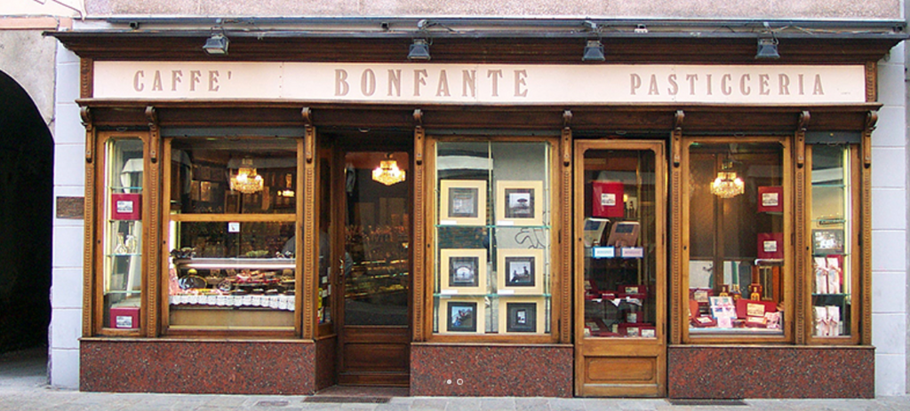 Facade of a historic local pastry shop in northern Italy