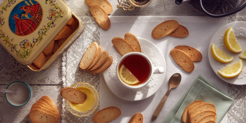 Table display with dry biscuits and tea