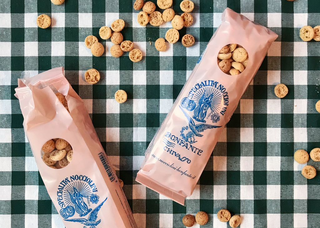 Opened bags of nocciolini droplets from Pasticceria Bonfante