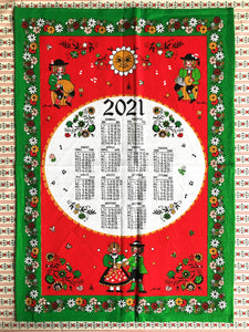 Alpine-style 2021 calendar tea towel from South Tyrol in green and red colours