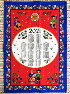Alpine-style 2021 calendar tea towel from South Tyrol in blue and red colours
