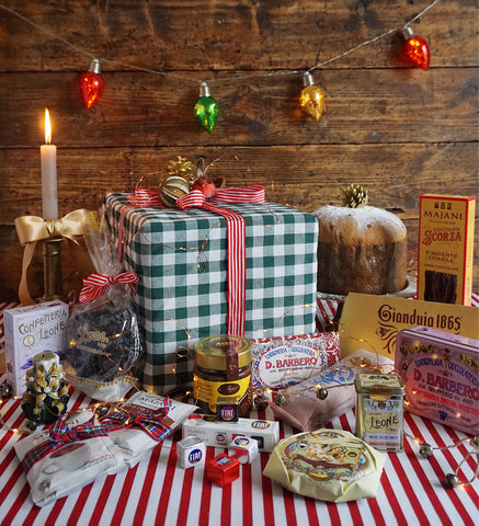 The contents of an Italian gourmet Christmas hamper