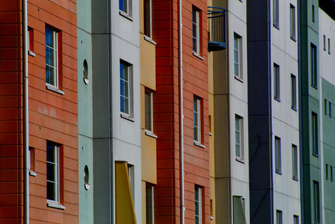 Block of residential apartments in different colours
