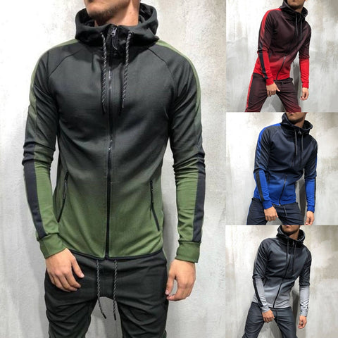 Zipper Tracksuit Men Set