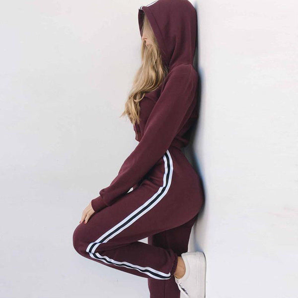 2Pcs Women Tracksuit Crop Hoodies Sweatpants Set