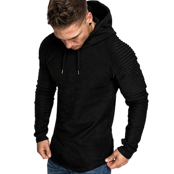 Pleated Drawstring Pullover Hoodie