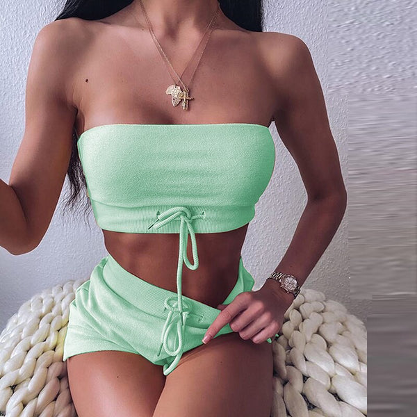 2 Pieces Strapless Crop Top And Shorts Set