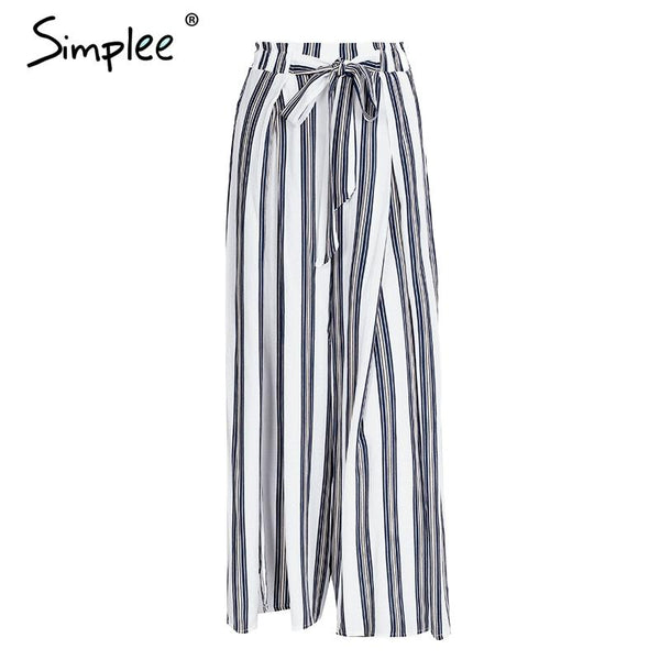 Simplee High Split Stripe Wide Leg High Waist Trousers