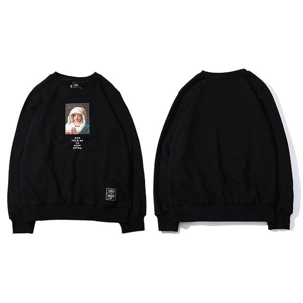 Virgin Mary Print Sweatshirts
