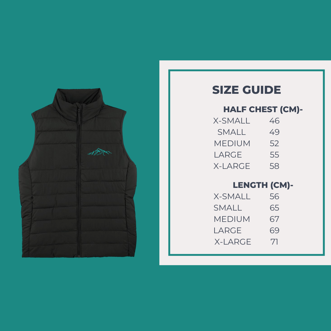 Unisex Eco Friendly Gilet Size Guide