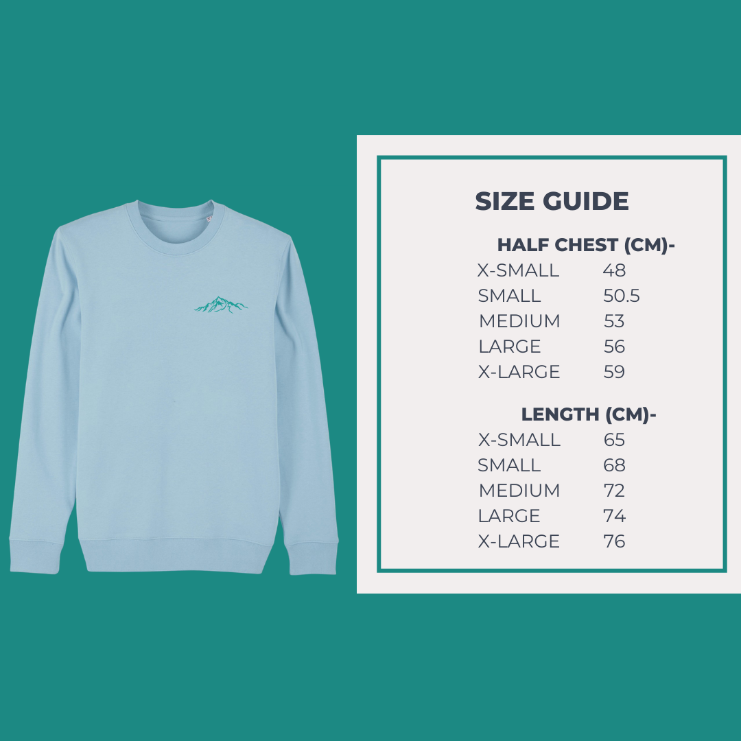 Unisex Eco-Friendly Sweatshirt Size Guide