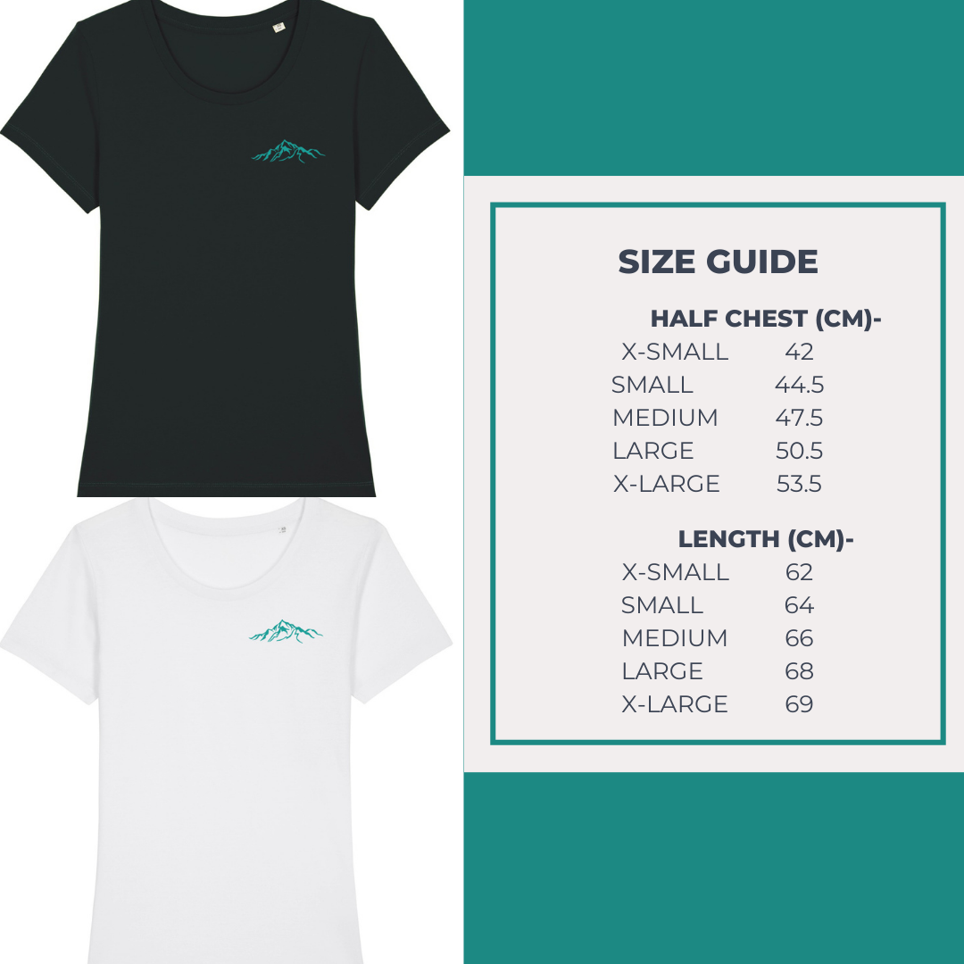 Ladies Organic Cotton Tee Size Guide
