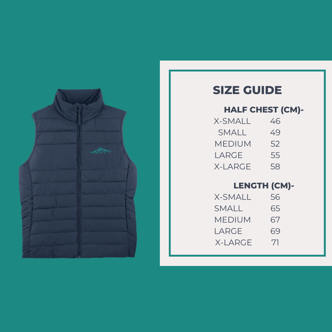 Unisex Sustainable Gilet Size Guide