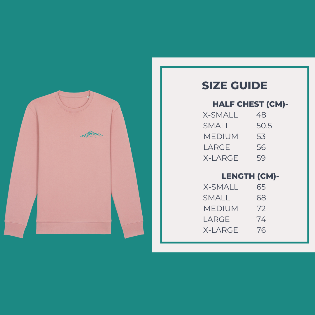 Vegan Friendly Sweatshirt Size Guide