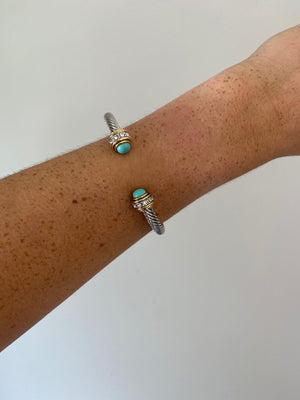 Teal Tipped Silver Bracelet