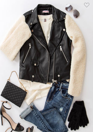 Black Faux Leather Jacket with Shearling Sleeves