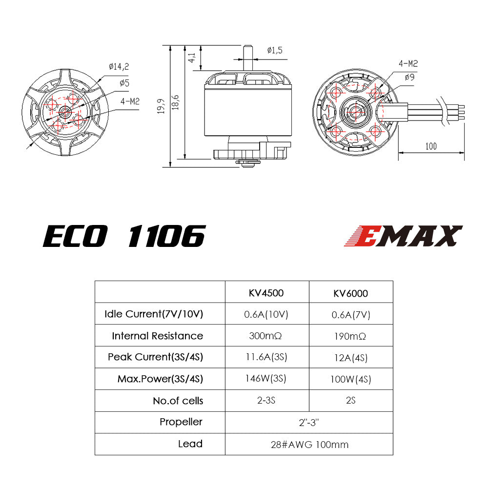 ECO Micro Series 1106 - 4500kv 6000kv Brushless Motor
