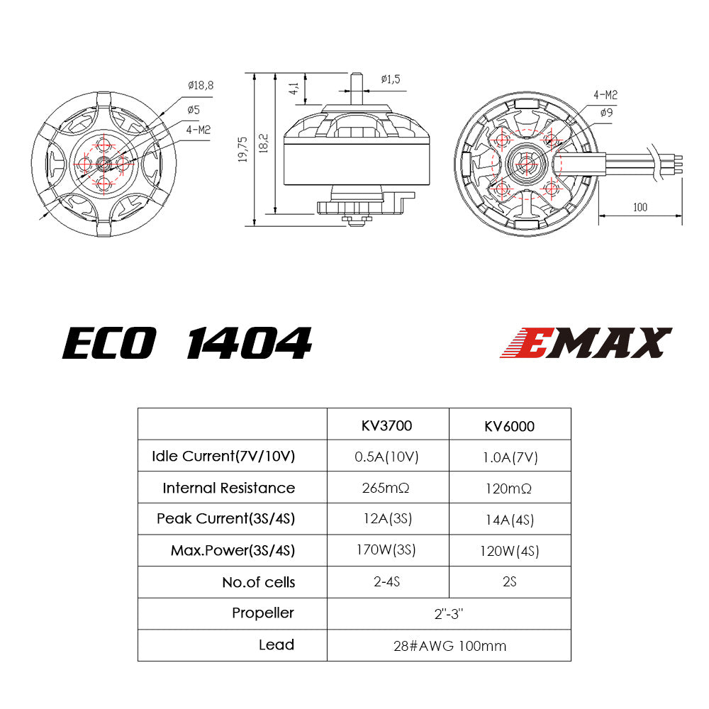 ECO Micro Series 1404 - 3700kv 6000kv Brushless Motor