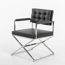 "Load image into Gallery viewer, 33"" Black Leatherette and Steel Dining Arm Chair"