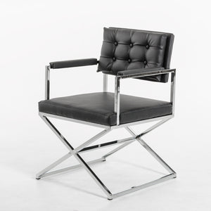"33"" Black Leatherette and Steel Dining Arm Chair"