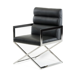 "24"" Black Leatherette and Stainless Steel Dining Chair"