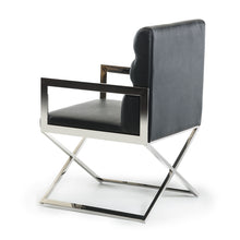 "Load image into Gallery viewer, 24"" Black Leatherette and Stainless Steel Dining Chair"