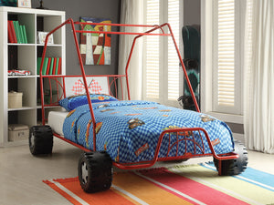 "84"" X 56"" X 51"" Twin Red Go Kart Metal Tube Bed"