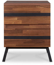"Load image into Gallery viewer, 18"" X 20"" X 23"" Walnut And Sandy Black Particle Board End Table"