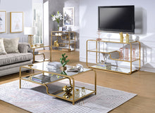 "Load image into Gallery viewer, 52"" X 24"" X 18"" Gold And Clear Glass Metal Coffee Table"