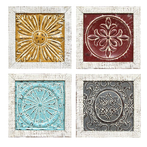 Distressed Medallion Metal and Wood Framed Wall Art