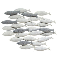Load image into Gallery viewer, Coastal Grey School of Fish Metal Wall Decor