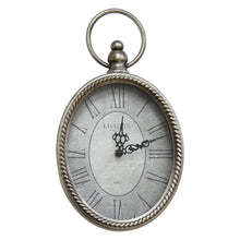 "Load image into Gallery viewer, 11.75"" Oval Vintage Wall Clock with Metal Shape"