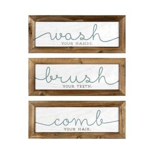 """Wash  Brush  Comb"" Wooden Bath Art"