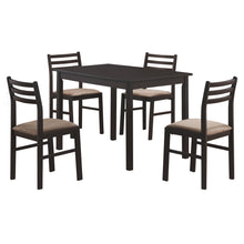 "Load image into Gallery viewer, 62.5"" x 74.75"" x 94.75"" Cappuccino Beige Solid Wood Foam Polyester Blend  5pcs Dining Set"