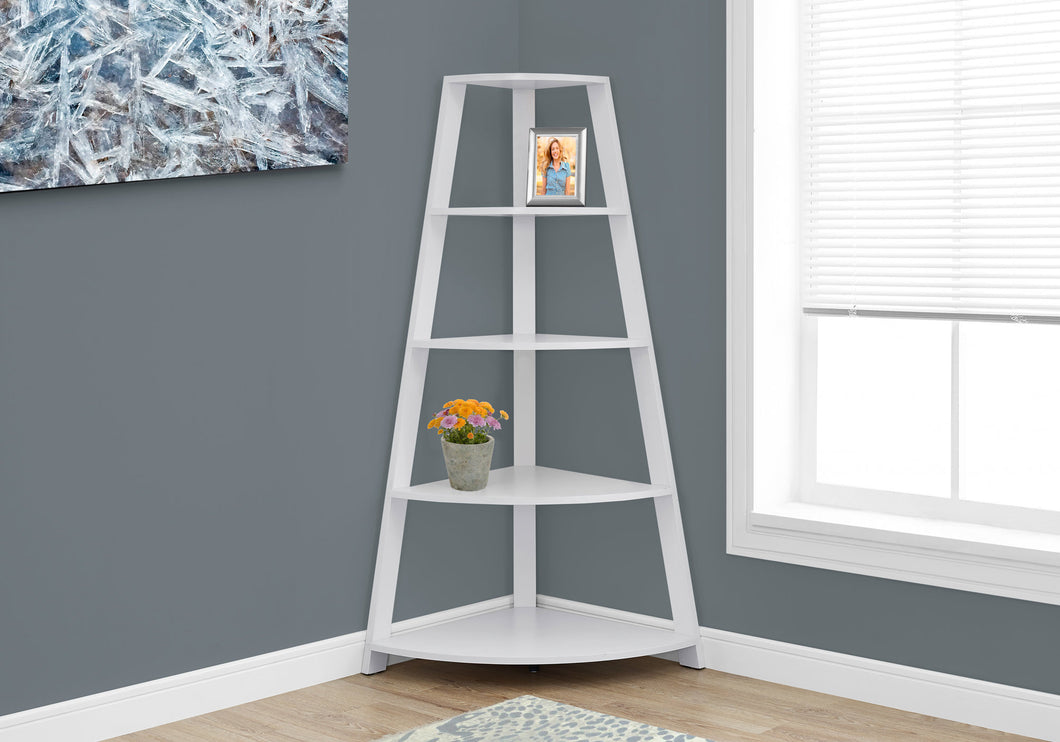 White Bookcase Corner Accent Shelf