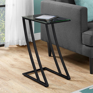 "15.75"" x 12"" x 24"" Black Clear Metal Tempered Glass Accent Table"