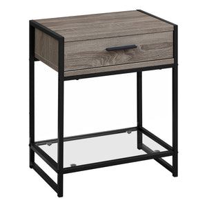 "12"" x 18"" x 22"" Dark TaupewithBlack  Tempered Glass  Accent Table"