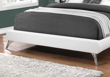 "Load image into Gallery viewer, 70.5"" x 87.25"" x 45.25"" White Foam Solid Wood Leather Look  Queen Sized Bed With Chrome Legs"