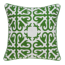"Load image into Gallery viewer, 20"" x 7"" x 20"" Traditional Green and White Accent Pillow Cover With Poly Insert"
