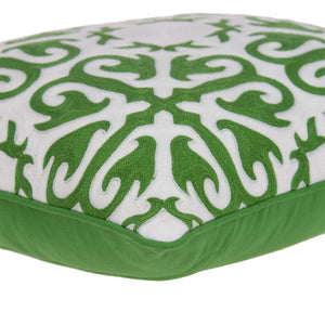 "20"" x 7"" x 20"" Traditional Green and White Accent Pillow Cover With Poly Insert"